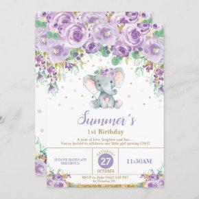 Cute Purple Floral Elephant 1st Birthday Girl Invitation