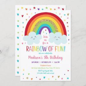 Cute Rainbow Clouds Birthday Invitation