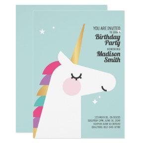 Cute Rainbow Unicorn Birthday Party Invitation