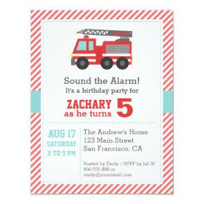 Cute Red Fire Truck Birthday Party Invitations