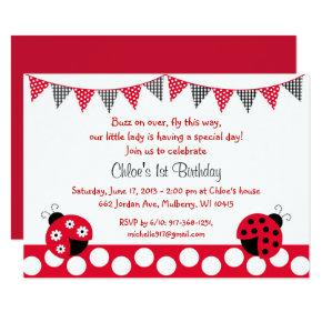 Cute Red Ladybug 1st Birthday Invitation