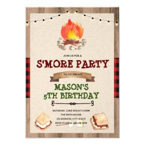 Cute red plaid smore bonfire party invitation