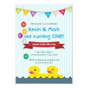 Cute Rubber Duck Twins Birthday Invitations