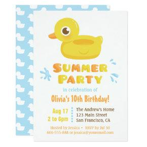 Cute Rubber Ducky Pool Float Summer Birthday Party Invitation