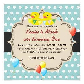 Cute Rubber Ducky Twins Polka Dots Birthday Invitations