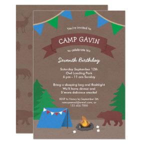 Cute Rustic Camping Birthday Party Invitations