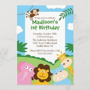 Cute Safari 1st Birthday Invitation