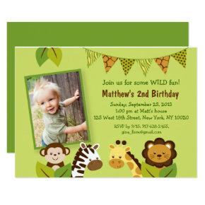Cute Safari Animal Birthday Invitation