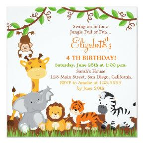Cute Safari Jungle Birthday Party