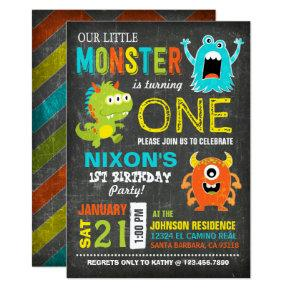 Cute Scary Little Monsters Birthday Invitation