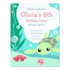 Cute Sea Turtle Birthday Invitation
