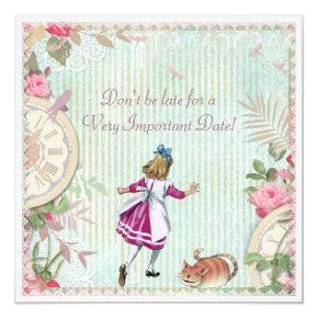 Cute Shabby Chic Alice in Wonderland Birthday Invitation