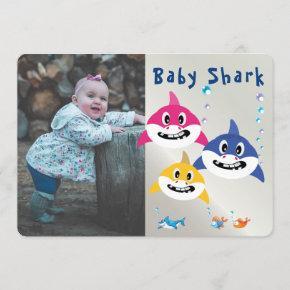 Cute Shark 1st Birthday Ocean Party Invitation