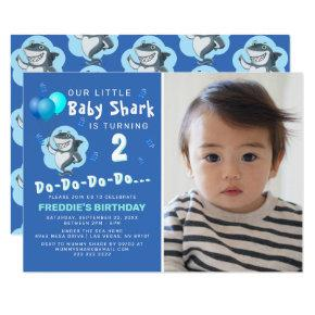 Cute Shark Blue Balloons Photo Birthday Invitation