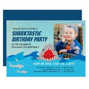 Cute Shark | Boys Birthday Party Photo Invitations