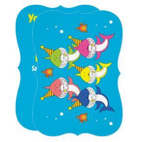 Cute Shark Family Cartoon Invitation