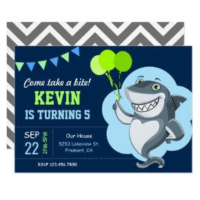 Cute Shark Kids Birthday Party Invitations