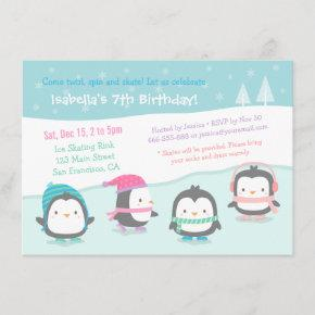 Cute Skating Penguins Birthday Party