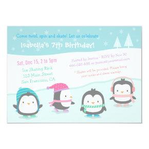 Cute Skating Penguins Birthday Party Invitations