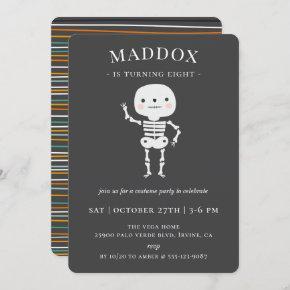 Cute Skeleton Halloween Birthday Party Invitation