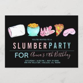 Cute sleepover slumber party birthday invite