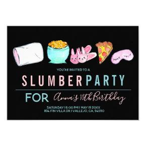 Cute sleepover slumber party birthday invite