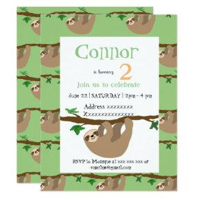 Cute Sloth, birthday party invitation