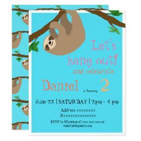 Cute Sloth, birthday party Invitations