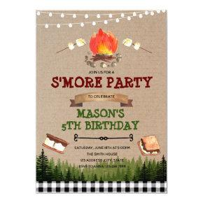 Cute s'more bonfire party invitation