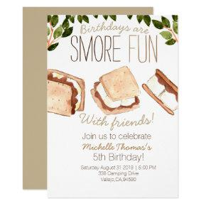 Cute smores camping kid birthday invite