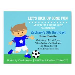 Cute Soccer Boy, Football Themed Birthday Party Invitation