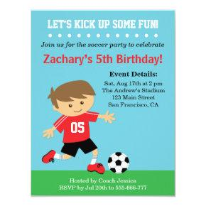 Cute Soccer Boy, Football Themed Birthday Party Invitations