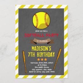 Cute softball party invitation