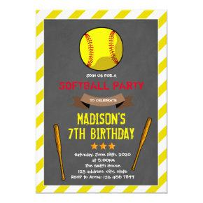Cute softball party invitation