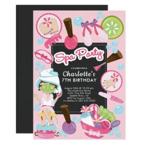 Cute Spa Party Birthday Invitation
