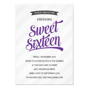 Cute Sporty Sweet Sixteen Birthday Party Invitation