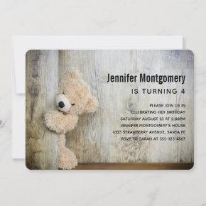 Cute Stuffed Bear Rustic Wooden Backdrop Birthday Invitation