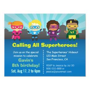 Cute Superhero Birthday Party Kids Invitations