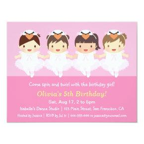 Cute Swan Ballerina Birthday Party Invitations