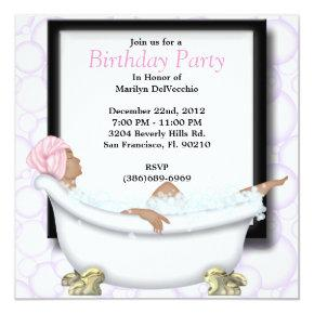 CUTE Sweet Spa Bath Massage and Beauty Party Invit Invitation
