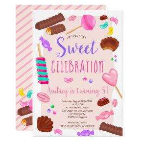 Cute sweets candy illustration 5th birthday party invitation