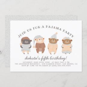 Cute Teddy Bears Pajama Party Birthday Party Invitation