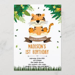 Cute tiger birthday invitation