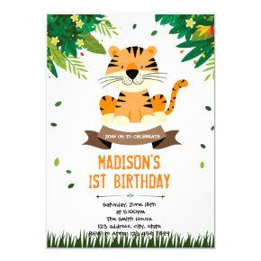 Cute tiger birthday invitation