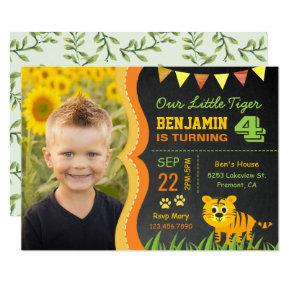 Cute Tiger Kids Photo Birthday Party Invitations