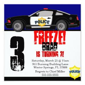 Cute Trendy Police Car Birthday Party Invitations