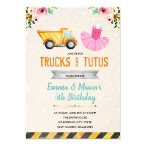 Cute truck tutu party invitation