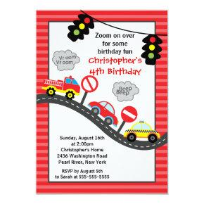 Cute Trucks & Cars Birthday Party Invitations