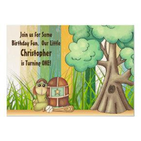 Cute Turtle Boys Baseball 1st Birthday Invitations