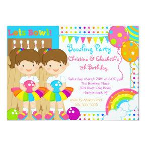 Cute Twin Girls Bowling Birthday Party Invitations